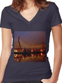 Zakim bridge Women's Fitted V-Neck T-Shirt