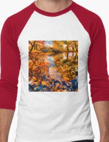 Boston Fall Foliage Reflection Men's Baseball ¾ T-Shirt