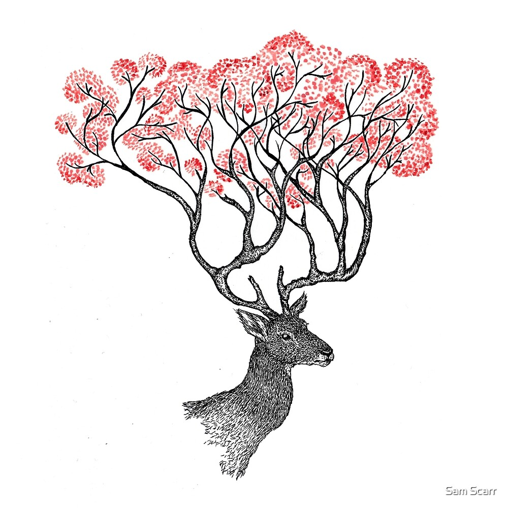 Pink Blossom Antlers by samclaire