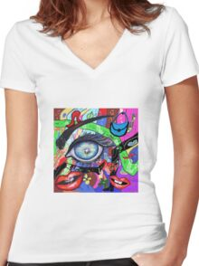 Abstract women view Women's Fitted V-Neck T-Shirt