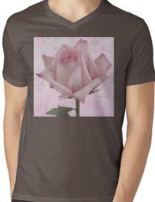 Single Pink Rose Blossom Mens V-Neck T-Shirt