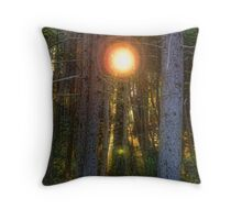 Sunflare in the Forest Throw Pillow