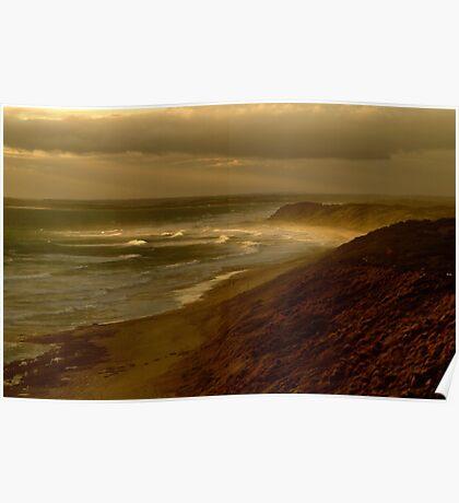 Sunset Sunburst, 13th Beach, Surf Coast Poster