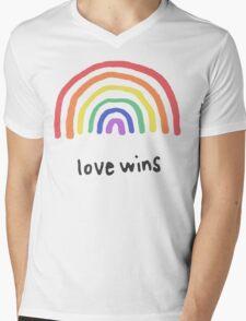 LGBTQA+  PRIDE [Love Wins] Mens V-Neck T-Shirt