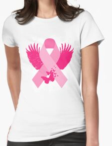 Pink Ribbon Design Womens Fitted T-Shirt