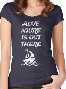 Adventure is Out There: White Women's Fitted Scoop T-Shirt