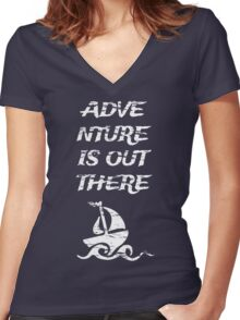 Adventure is Out There: White Women's Fitted V-Neck T-Shirt