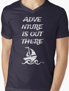 Adventure is Out There: White Mens V-Neck T-Shirt