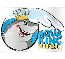 Funny surf shop shark ocean wave Poster