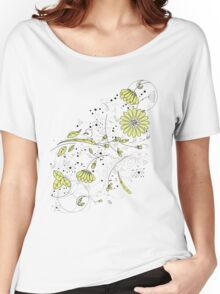 Doodle line drawing decorative flowers chartreuse Women's Relaxed Fit T-Shirt
