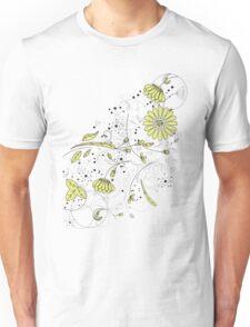 Doodle line drawing decorative flowers chartreuse Unisex T-Shirt