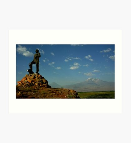 Statue with Mount Ararat Art Print