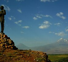 Statue with Mount Ararat by fortheloveofit