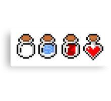 Zelda's potions - pixel art Canvas Print