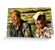 old men basking in the sun. northern india Greeting Card