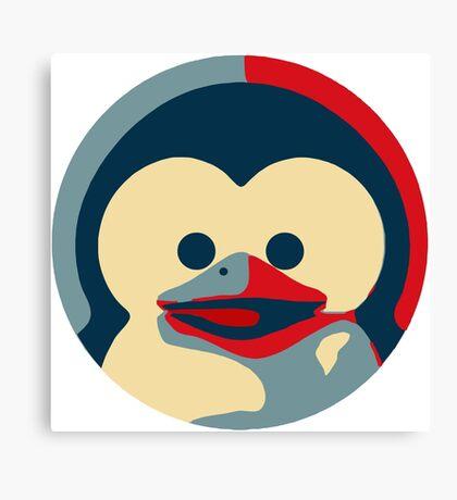 Linux tux penguin obama poster baby  Canvas Print