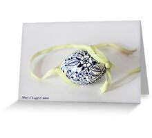 single tradtional Czech Easter egg with blue onion pattern and yellow ribbon Greeting Card