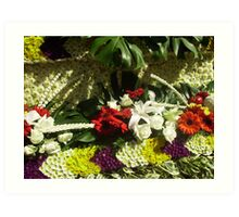 Flowers on  Float at Chiang Mai, North Thailand. Art Print