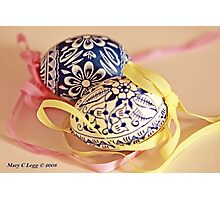 Two traditional hand-painted Czech Easter eggs Photographic Print