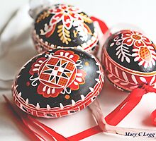 three traditional hand-painted  black Czech Easter eggs by pogomcl