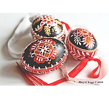 three traditional hand-painted  black Czech Easter eggs Photographic Print