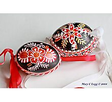 two traditional black Czech Easter eggs with  geometric designs Photographic Print