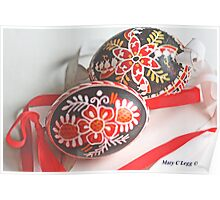 Two traditional black Czech Easter eggs with hand-painted geometric designs Poster