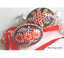 Two traditional black Czech Easter eggs with hand-painted geometric designs Photographic Print