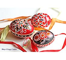 three traditional hand-painted  Czech Easter eggs with geometric designs Photographic Print