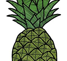 Fluro Pineapple Sticker by tosojourn