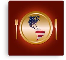 American flag continent shaped like on golden plate Canvas Print