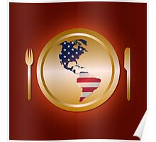 American flag continent shaped like on golden plate Poster