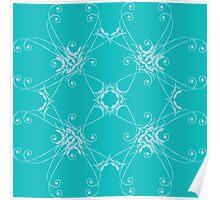 blue pastel floral composition Poster