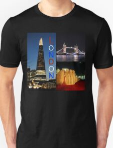 London - Shard, Tower Bridge and Tower of London Unisex T-Shirt