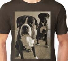 What do you mean she's right behind me .... -Boxer Dogs Series- Unisex T-Shirt