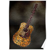 Abstract Guitar in Squares Poster