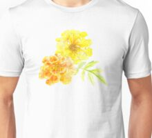 French marigolds orange yellow watercolor art Unisex T-Shirt