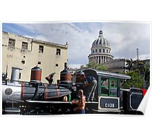 Train salvagers behind the Capitolio, Havana,  Cuba Poster
