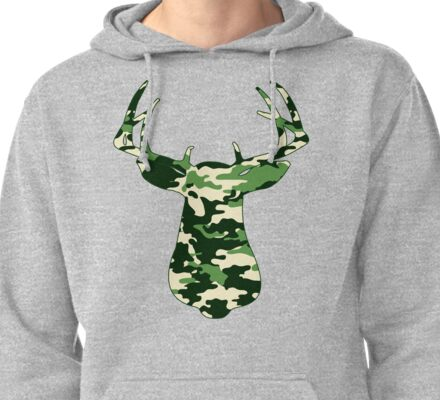 Camo Buck - Hunting T-shirt Pullover Hoodie