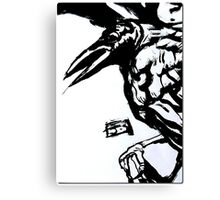 Crow (Ink on watercolor paper) Canvas Print