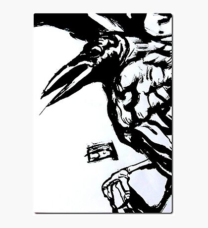 Crow (Ink on watercolor paper) Photographic Print