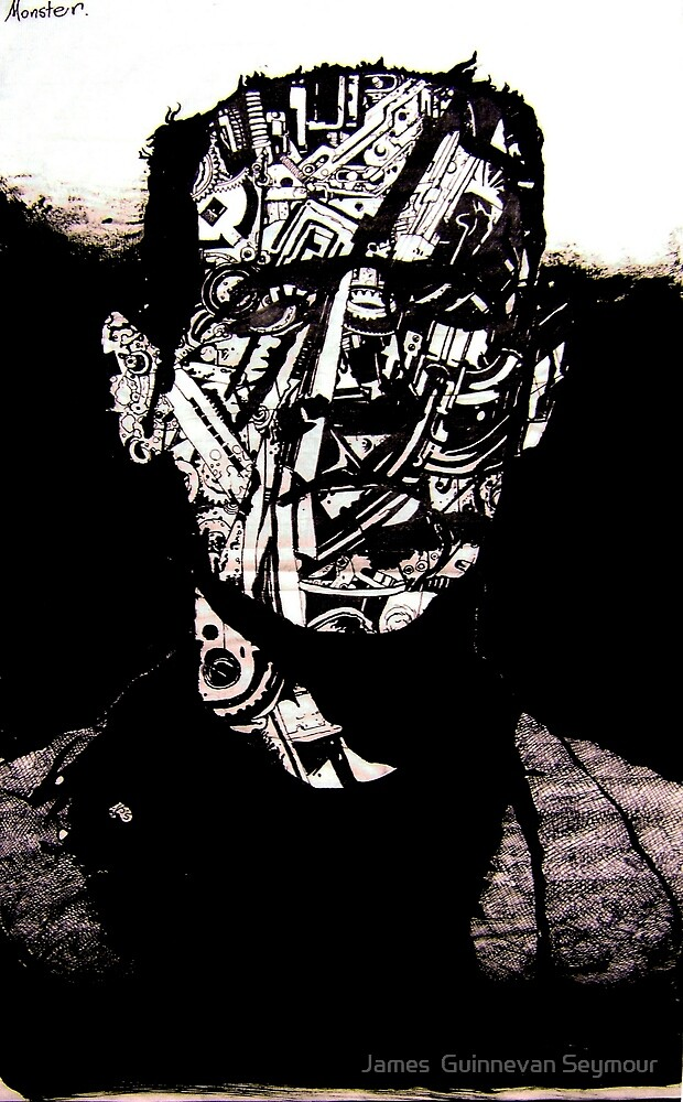 Monster #3 (Drawn on hangul Korean caligraphy paper) by James  Guinnevan Seymour