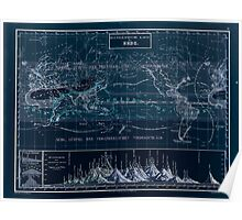 Atlas zu Alex V Humbolt's Cosmos 1851 0160 Histographic Map of the Earth Inverted Poster