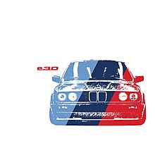 BMW 3 Series (E30) Grungy M stripe overlay Photographic Print
