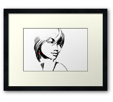 Woman with one red earring Framed Print