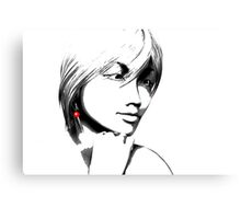 Woman with one red earring Canvas Print