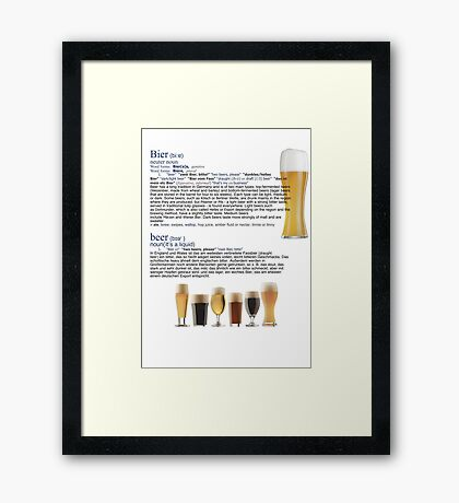 Beer The European hit around the world Framed Print