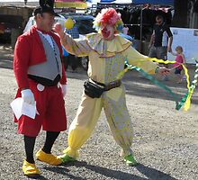 COMPARING COSTUMES! Show Crier & Clown. by Rita Blom