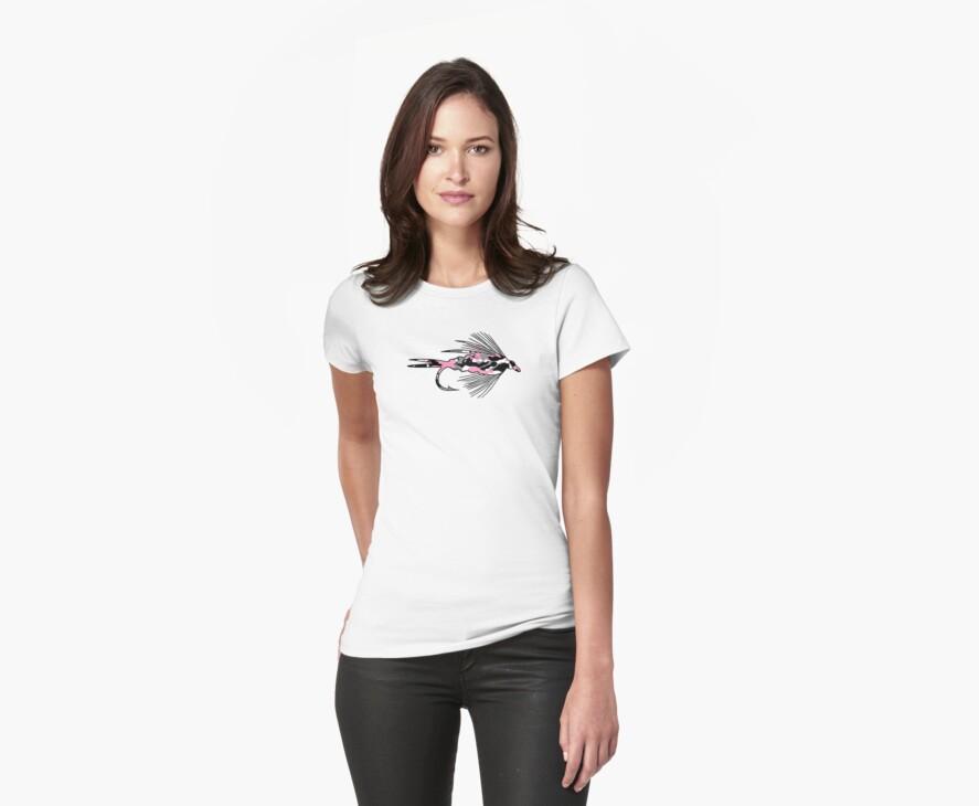 Pink Camo Fly - Fly Fishing T-shirt by Marcia Rubin
