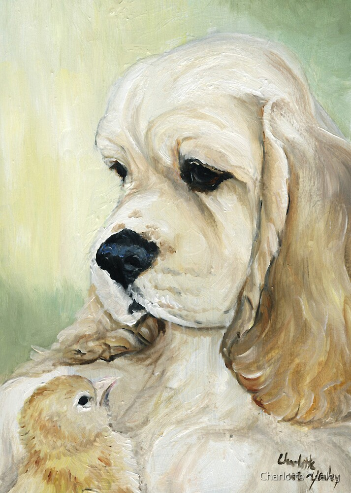 Cocker and Chick Oil Painting by Charlotte Yealey